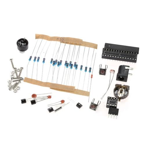 Compact 4-digit DIY Digital LED Clock Kit Light Control Temperature Date Time Display with Transparent Case