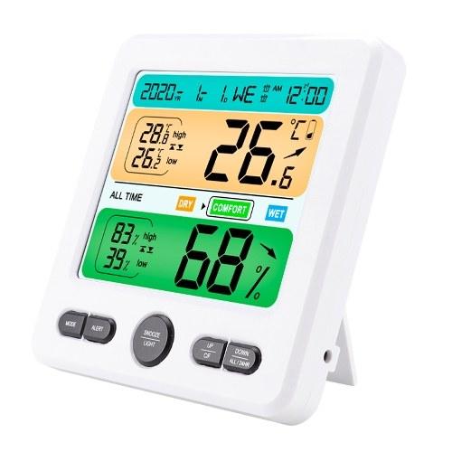LCD-Display Wand-Desktop-Innenbereich Hochpräzises Temperatur- und Feuchtigkeitsmessgerät Elektronischer Haushaltswecker Intelligentes Zuhause