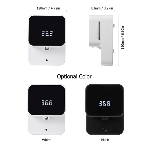 2 in 1 Wall Mounted Automatic Non-contact Temperature Measuring Soap Dispenser with LED Digital Screen Fever Alarm 430ml