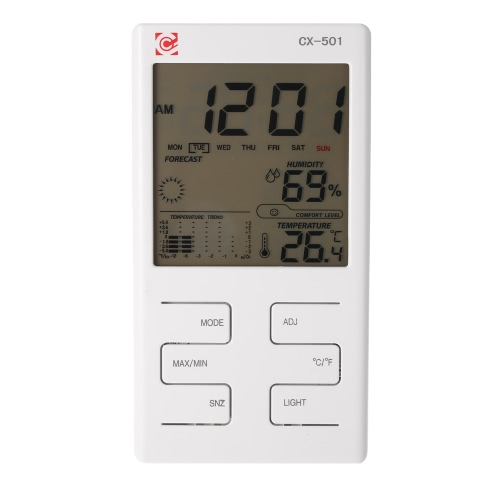 °C/°F Multifunctional Indoor LCD Digital Temperature Humidity Meter Clock Thermometer Hygrometer Temperature Trend Comfort Level Alarm Hourly Chime Max Min Value Display