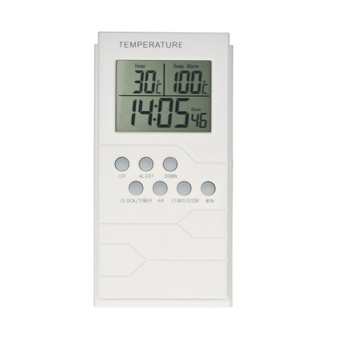 LCD Digital Thermometer with Probe 0~300°C Temperature Measurement Clock Timer Countdown and Temperature Alarm Function