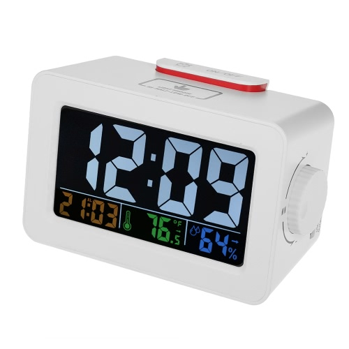 LCD ℃/℉ Digital Thermometer Hygrometer Clock Temperature Humidity Meter Alarm Clock Snooze Backlight Color Screen Display