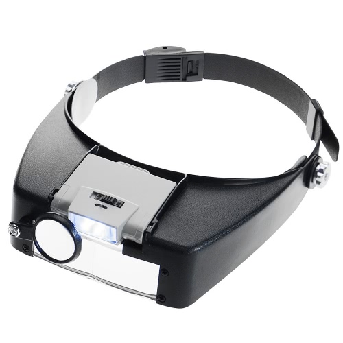 Adjustable Jewelers Head Headband Lamp Magnifier Illuminated Magnifying Eye Glasses Lens Loupe 2 LED Light Visor for Surgical Repair Precision Work Reading
