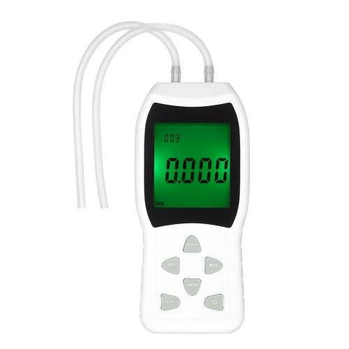 高精度ハンドヘルドLCDデジタルデュアルポートマノメータ12気圧測定/±20.68kPa /±2.999psiの差動空気圧ゲージテスタ