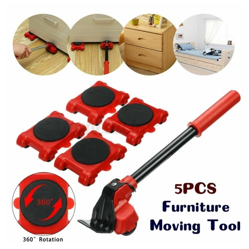 5PCS Heavy Type Furniture Moving System Lifter Tool 4 Slide Glider Pad Wheel Easy Move