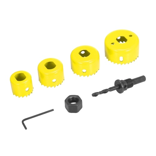 Bi-metal Hole Saw Kit 6Pcs Assorted Heavy-duty Hole Saw Set with 4 Saw Blades of 32/38/44/54mm, 1 Mandrel, 1 Hex Key for Metal Wood Plasterboard PVC P