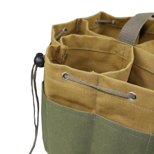 Outdoor Canvas Cylinder Kit Bag Garden Hardware Tool Bag Portable Wear-Resistant Strong Drawstring Tool Storage Bag Tool Organizer