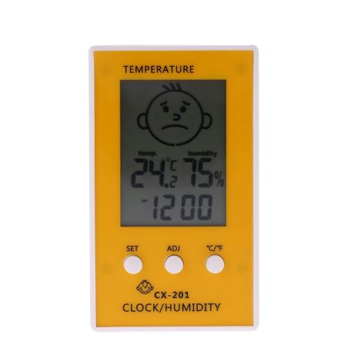 LCD Digital Thermometer Hygrometer Clock Temperature Humidity Measurement °C/°F Comfort Level Display