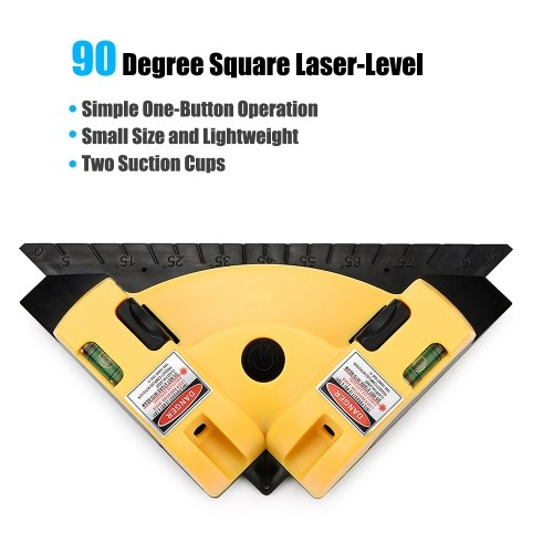 90 Degree Square Laser-Level Mini Horizontal & Vertical Laser-Line Projection Square Laser-Level Meter with Two Suction Cups