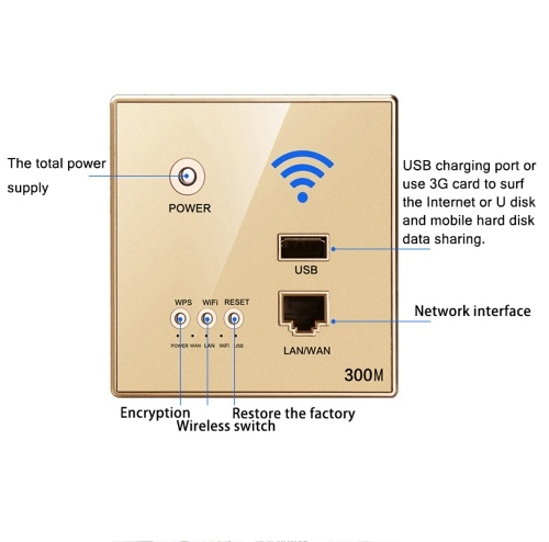 300Mbps Power AP Relay Intelligent Wireless WIFI Repeater Extender Wall Embedded 2.4GHz Router Panel with USB Socket, TOMTOP  - buy with discount