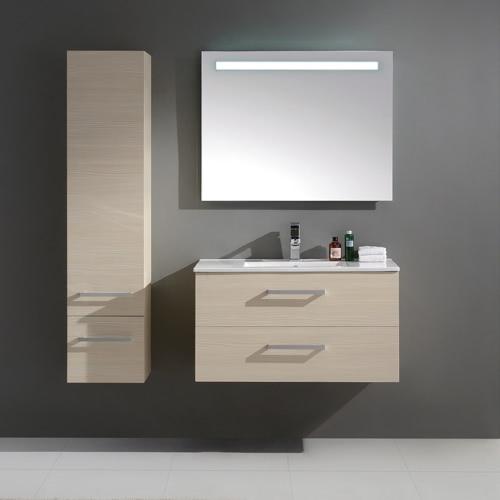 Ensemble de salle de bain en bois massif  et MDF avec simple vasque coloris Bouleau