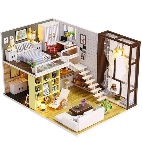 Assemble DIY Doll House Toy Wooden Miniatura Kit Dollhouse Toys