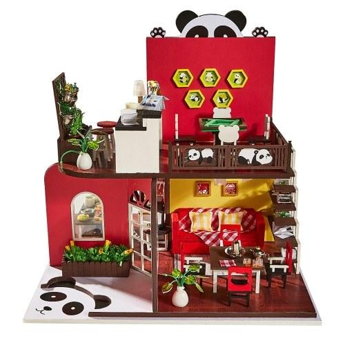 Assemblez le kit de miniatura en bois de jouet de maison de poupée de DIY
