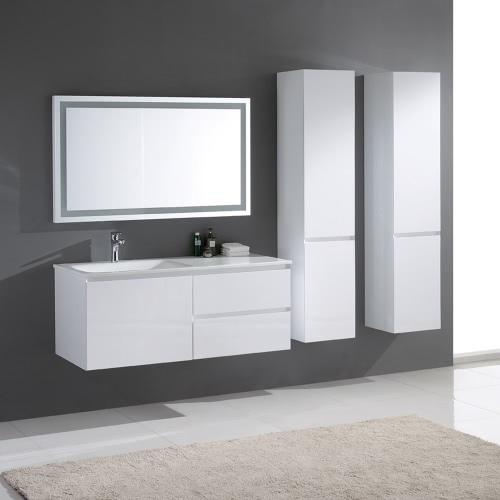 Meuble de salle de bain simple vasque en bois massif et MDF - coloris Blanc Laqué Brillant
