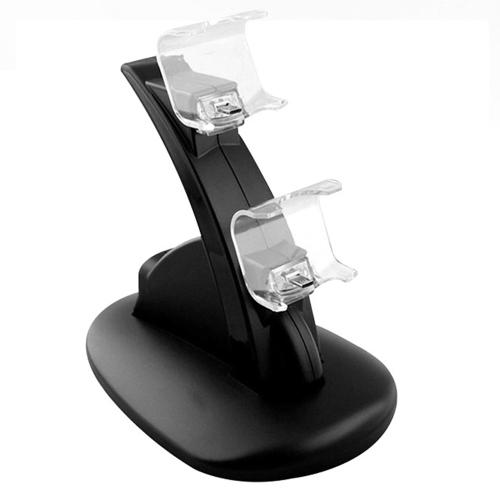 Supporto per docking station per ricarica USB doppio in ABS nero per Playstation 4 Controller di gioco per controller PS4 con cavo