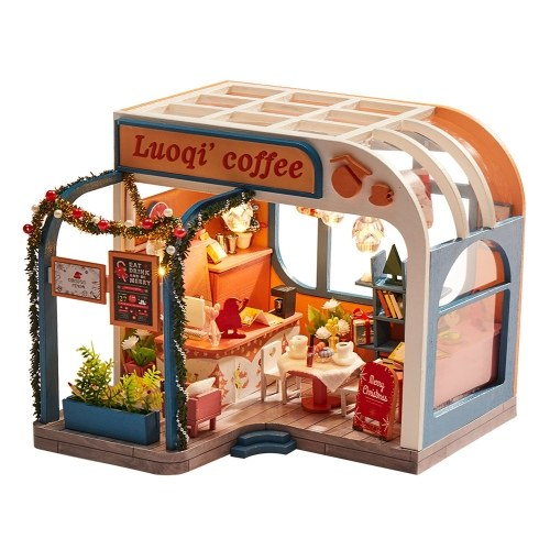 Assemble DIY Coffee House Toy Wooden Miniatura Kit