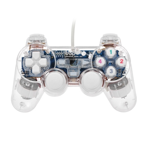 Transparent Wired Game Joystick USB Video Game Controller PC Gamepad Joypad with LED Flashing Light