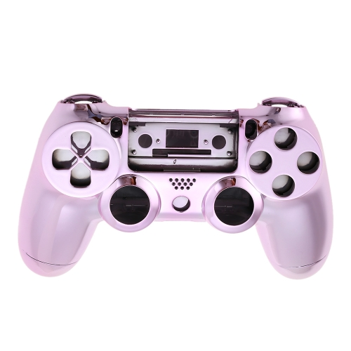 Metal-plated Full Housing Controller Shell Gamepad Shell Cover Case with Matching Buttons Pink for PS4