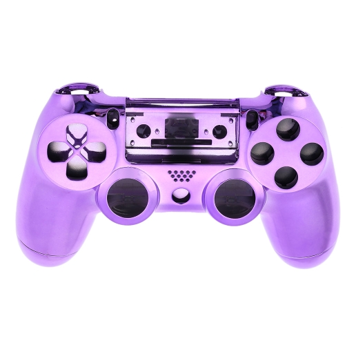 Metal-plated Full Housing Controller Shell Gamepad Shell Cover Case with Matching Buttons Purple for  PS4