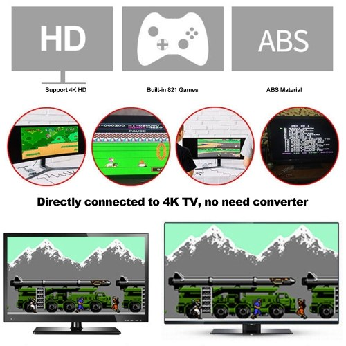 Image of SN-02 Classic Family Game Console Mini HD TV Video Game Console Dual Gamepad Built-in 821 Classic Games for SNES Games