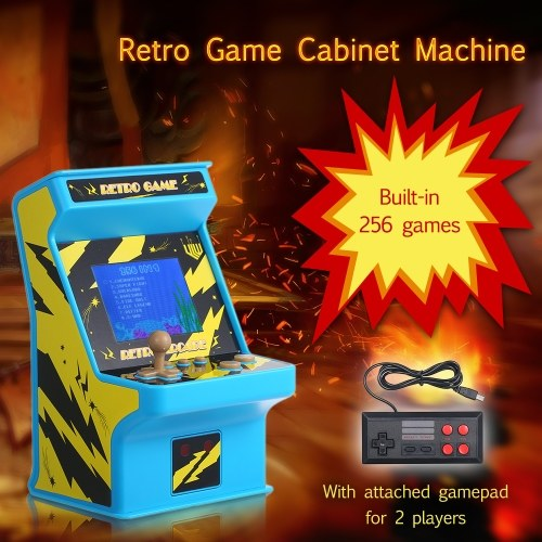 Mini Retro Game Cabinet Machine Battery Powered 256 in 1 Classic Arcade  Games 8-bit Handheld Video Gaming Console with Gamepad Controller for 2