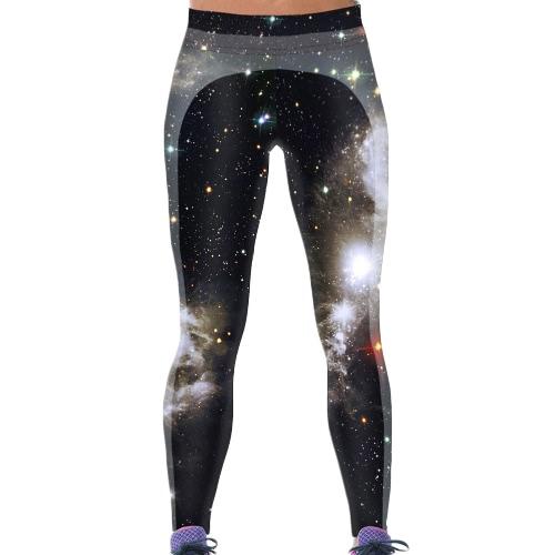 Europa Fashion Damen Leggings Digital Galaxy Drucken elastische Taille dehnbar engen Skinny Hosen