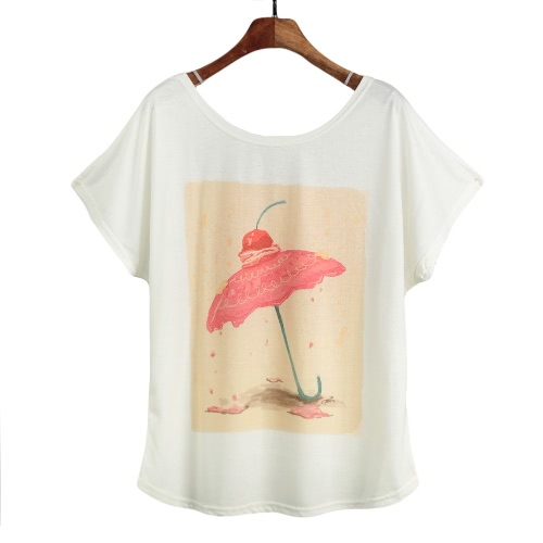 New Women T-shirt Special Print O-Neck Short Batwing Sleeves Pullover Loose Casual Plus Size Blouse Top