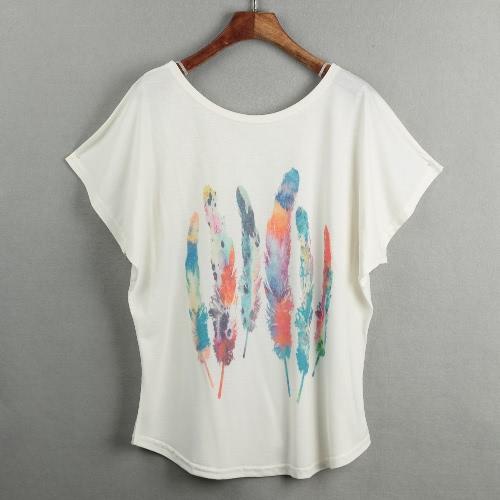 New Women T-shirt de impressão especial O-pescoço curto Batwing mangas Pullover soltas Casual Plus Size Blusa Top