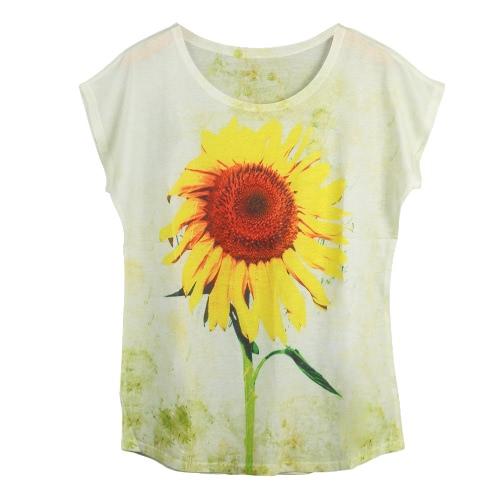 Nueva camiseta de las mujeres de impresión especial del O-cuello de manga corta Suéteres ocasionales flojas camiseta de la moda Top