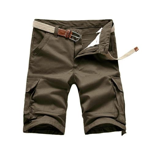 Calções de verão nova homens carga Shorts trabalho Casual multi bolsos militar do exército estilo solto sem cinto