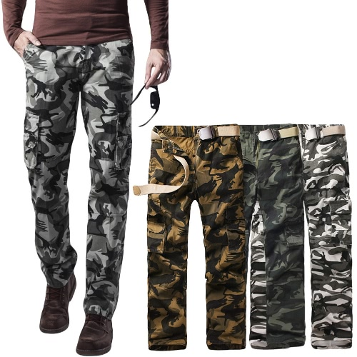 New Men Cargo Trousers Camouflage Multi-Pockets Camping Work Military Style Outdoor Casual Pants G4064W-34