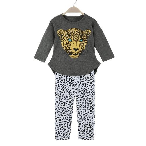 Nueva moda de las niñas ropa conjuntos camiseta Leggings leopardo cabeza impresión redondo cuello manga larga traje lindo