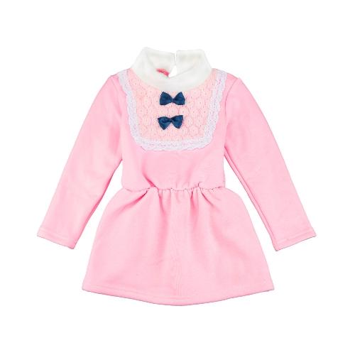 Милый ребенок девочки платье водолазку кружево лук узел упругие талии замочную скважину обратно кнопку принцесса платье желтый/Розовый/Роуз