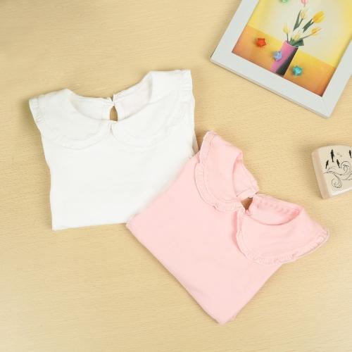 TOMTOP / Novo bebê fofo menina t-shirt Peter Pan Collar Keyhole botão manga longa volta doce Top branco/rosa