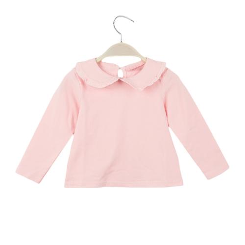 Nuevo lindo bebé niña t-shirt cuello Peter Pan ojo de la cerradura botón manga largo dulce superior blanco/rosa