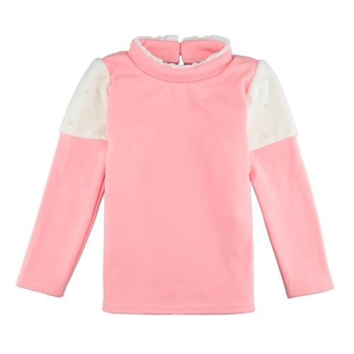 Nuevo chicas niños empalme blusa perla botón mangas largas niños informal cálido Jersey sudadera Top rosa/blanco/oscuro azul