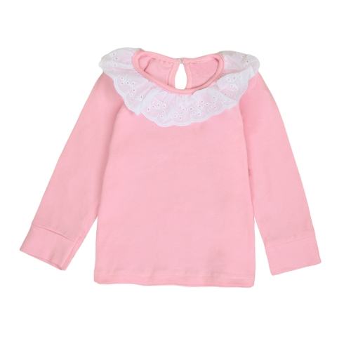 Sweet Cute Kids Baby Girl Cotton T-Shirt Peter Pan Collar Solid Color Long Sleeves Casual Tee Tops White/Pink/Yellow