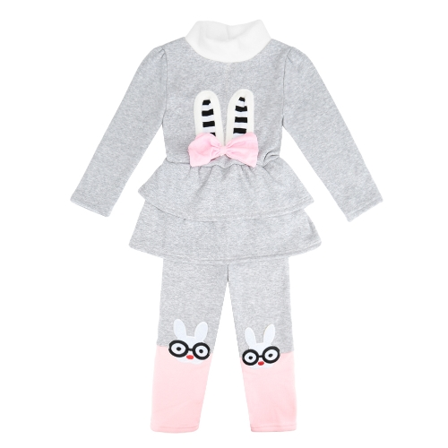 Lindo bebé chicas Bow Set dos piezas dibujos animados patrón manga larga sudadera cintura elástico pantalones paño grueso y suave caliente trajes rojo/gris