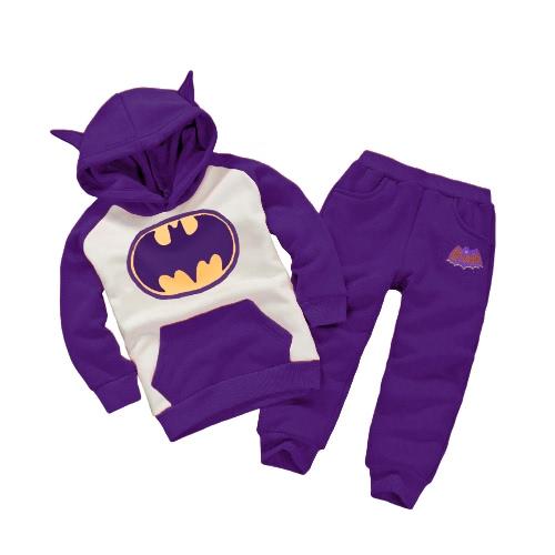 Cute Batman Cartoon Print Ears Hoodie with Pants Boys' Sports Two Piece Set