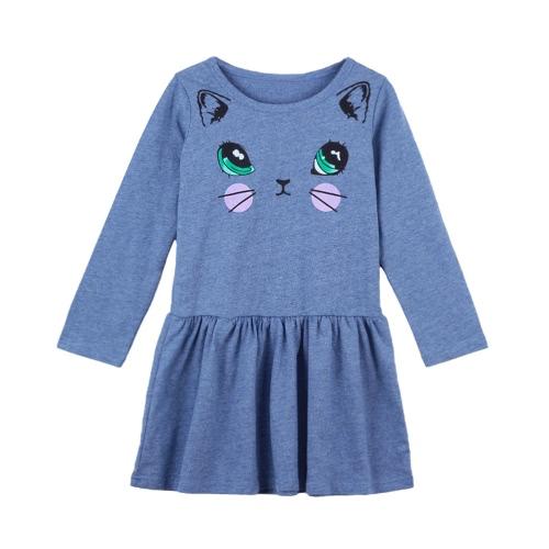 Cute Kids Cotton Cartoon Cat Print Dropped Waist Round Neck Long Sleeve Children Girls' Dress