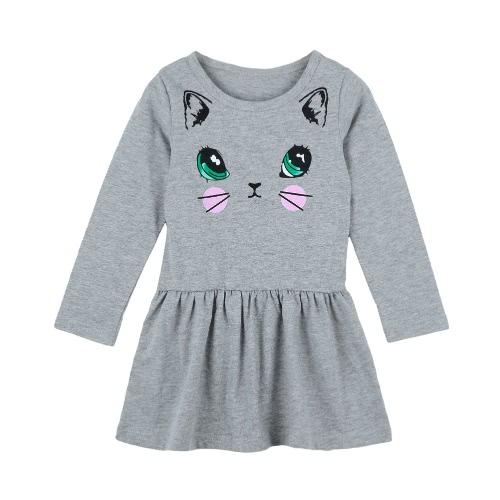 Bebé niñas niños vestido algodón historieta gato copia nueva caída cuello manga larga niños lindos princesa vestido de cintura O sólido