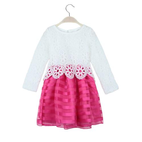 Nuevos niños niñas vestido Crochet encaje O cuello manga larga rayas niños dulce princesa tutú de Tulle Vestido púrpura/rojo/rosa