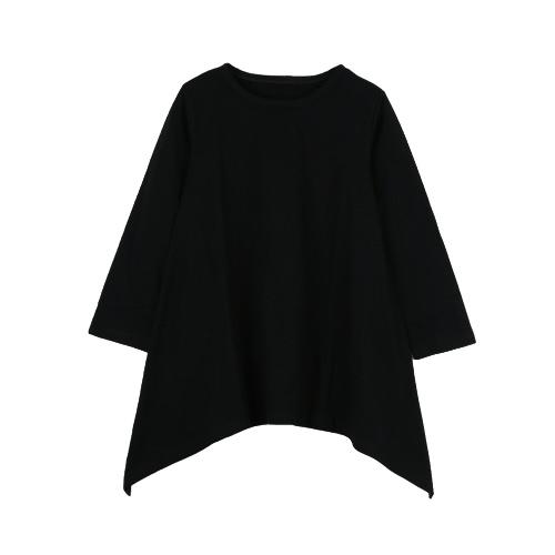 Novas meninas crianças vestem de algodão a linha bainha Irregular cor sólida O pescoço mangas compridas crianças soltas bonito vestido preto/cinza