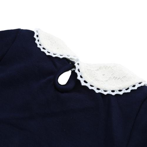 Сладкий мило малышей Baby девушка футболку Питер воротник с длинными рукавами замочной скважины сплошной цвет случайный футболка топы белый/розовый/темно синий