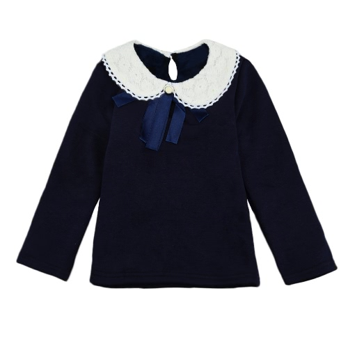Niños lindos dulce bebé niña camiseta cuello Peter Pan manga larga cerradura Color sólido Casual Tee Tops rosa/blanco/oscuro azul