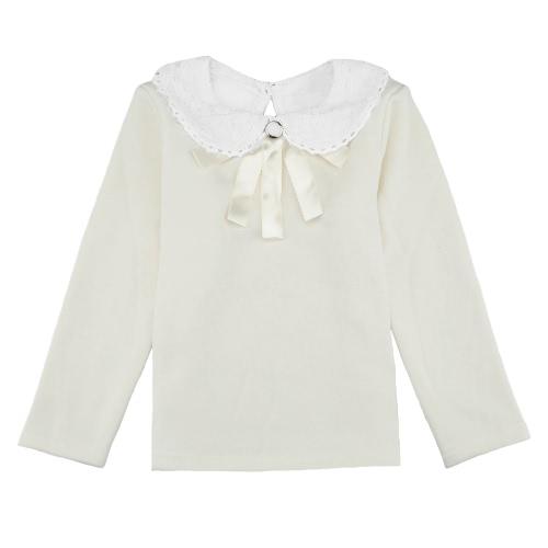 Süßen niedlichen Kinder Baby Girl T-Shirt Bubikragen Langarm Schlüsselloch Volltonfarbe lässig Tee Pullover White/Pink/Dark Blue
