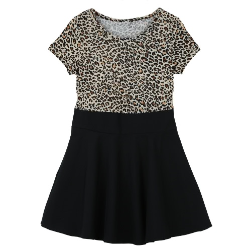 Fashion Cute Kids Girl Dress Leopard Print Round Neck Short Sleeves Mini Pleated Dress Black