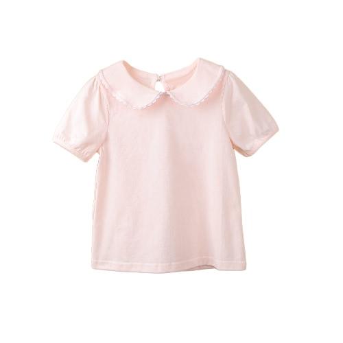 Cute Kids Girl Short Sleeve T-Shirt Peter Pan Collar Ear Baby Children Sweet Casual Top T-Shirt
