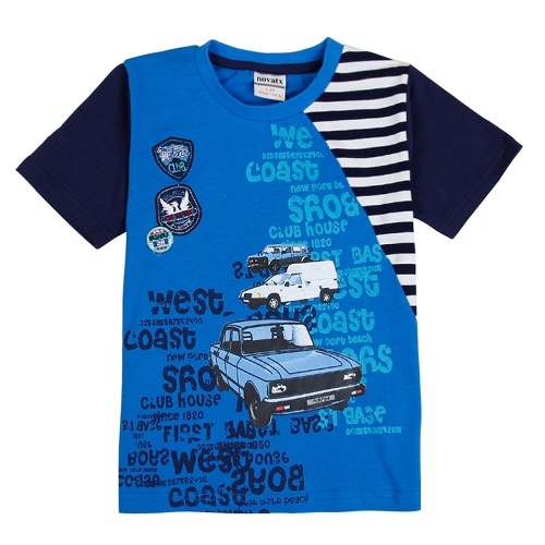 New Kids Baby Boy T Shirt Car Letter Pattern Print Round Neck Short