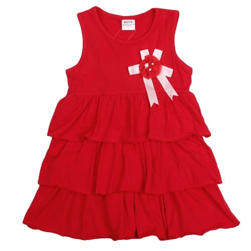 Neue süße Girls Kids Kleid Rüschen Saum Blume Brosche feste O-Neck ärmelloses süßes Kleid Rot